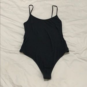 Dark steel gray Ribbed American apparel Bodysuit